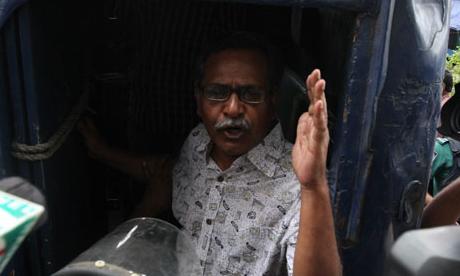 Prof. Anu Muhammad arrested during left hartal. © Priyo