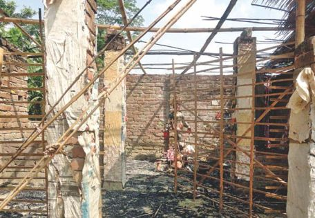 200 year-old Kali temple in Rajoir upazila of Madaripur in ruins after it was burned down by fanatics on Thursday. Photo: Star
