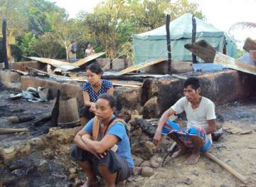A scene of devastation at Taindong - homeless in their homeland