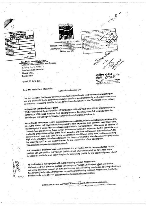 Letter from Ramsar Convention on Wetlands to the Ministry of Environments and Forests of the Government of Bangladesh.