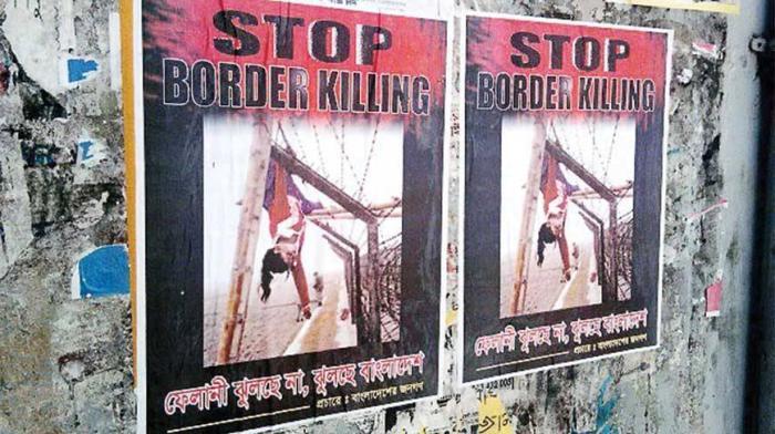 Posters protesting border killings showing the Felani's dead body. Source: Dhaka Tribune.