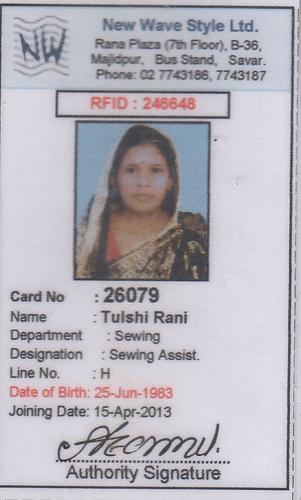 Tulshi Rani, missing at Rana Plaza.