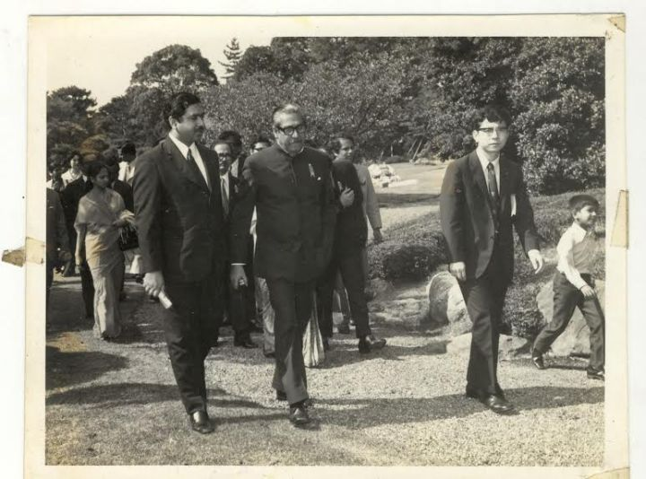 Kamal Hossain with Sheikh Mujibur Rahman on a trip to Japan.