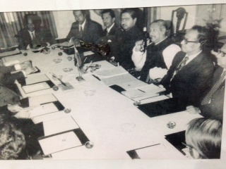 Kamal Hossain sitting next to Sheikh Mujib during bilateral country meeting.