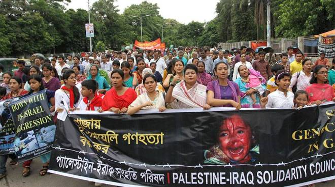 The Palestine-Iraq Solidarity Council of Bangladesh protesting the Israeli attack on Gaza. Source: Dhaka Tribune.