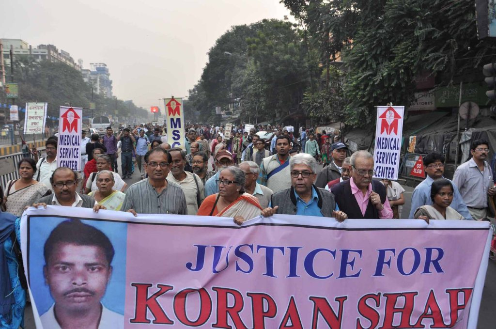 A rally in Kolkata demanding justice for Korpan Shah. Source: Kolkata Today.