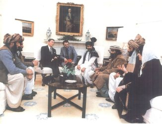 Ronald Reagan with Mujaheedin leaders in 1985. Source: