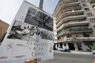 Nazi Swastika and anti-Bangladesh graffitti on poster. Source: roma.repubblica.it
