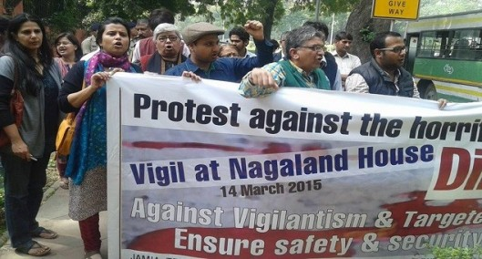 Rights activists in Delhi protesting against Nagaland lynching of an imprisoned rape accused. Source: India Tomorrow