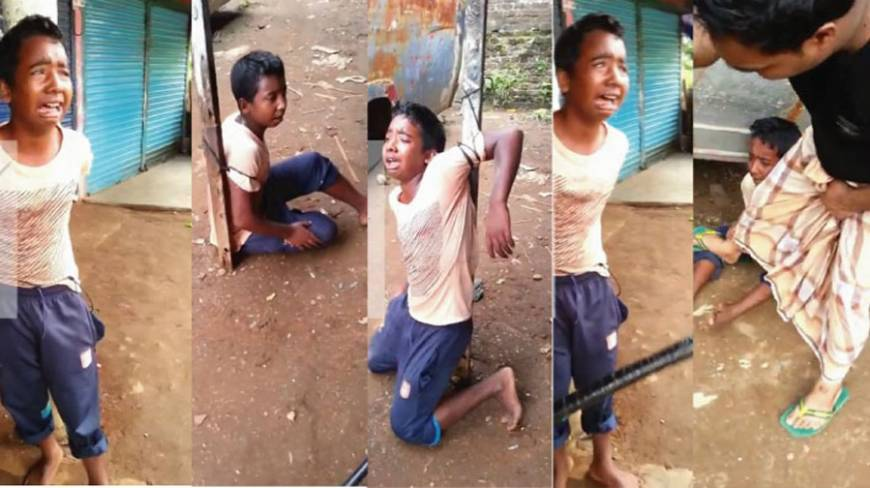 Thirteen year old Rajon being tortured. Images taken from video uploaded by his torturers. Source: Dhaka Tribune.