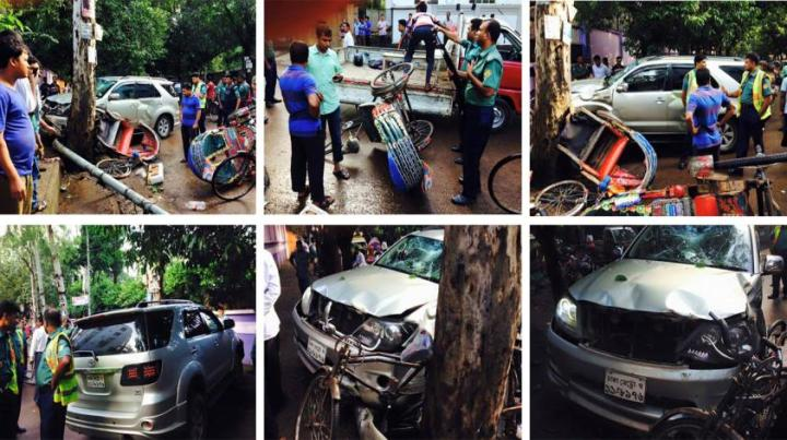 Social media photos from the scene of the accident in Gulshan, Dhaka.